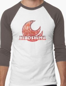 Hiroshima Prefecture Japanese Symbol Distressed Men's Baseball ¾ T-Shirt
