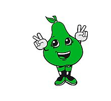 winner sign pear sweet cute toddler girl comic cartoon peace victory winner handzeichen Photographic Print