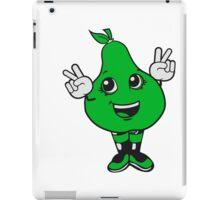 winner sign pear sweet cute toddler girl comic cartoon peace victory winner handzeichen iPad Case/Skin
