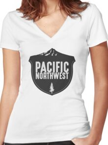 Pacific Northwest Mountain Badge Women's Fitted V-Neck T-Shirt