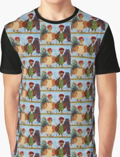 American Gothic Roosters Down on the Farm Graphic T-Shirt