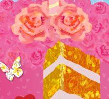 Birthday Cake, Garden Party festive whimsical art Sticker