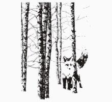 Fox in Birch Tree Forest Black Silhouette Kids Tee