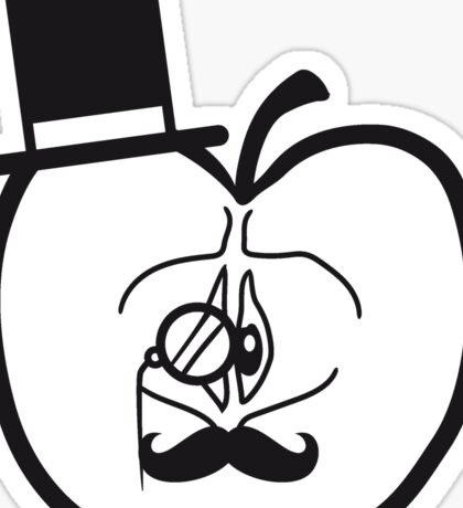 sir mr gentlemen cylinder monokel glasses mustache mustache man half sliced apple Sticker