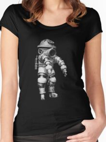 Vintage retro deep sea diver Women's Fitted Scoop T-Shirt