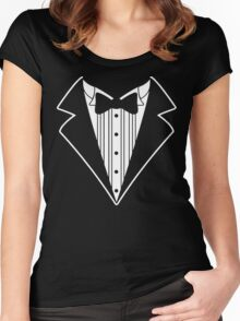 Fake Tux Tuxedo Suit Tie Women's Fitted Scoop T-Shirt