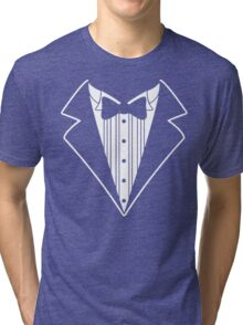 Fake Tux Tuxedo Suit Tie Tri-blend T-Shirt