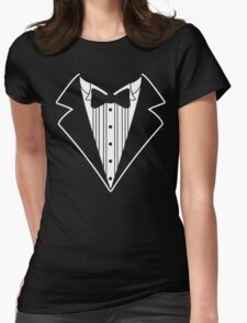 Fake Tux Tuxedo Suit Tie Womens Fitted T-Shirt