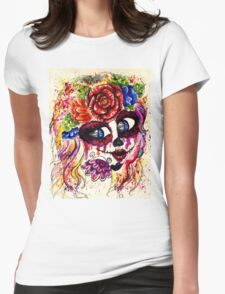 Sugar Girl in Flower Crown Womens Fitted T-Shirt