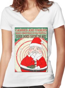 Candies and Cookies Funny Christmas Santa haiku Women's Fitted V-Neck T-Shirt