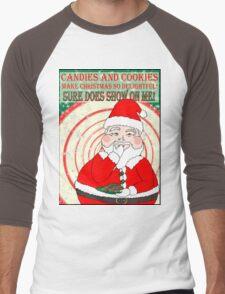 Candies and Cookies Funny Christmas Santa haiku Men's Baseball ¾ T-Shirt