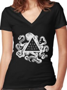 Triangle Fight Octo-Logo Women's Fitted V-Neck T-Shirt