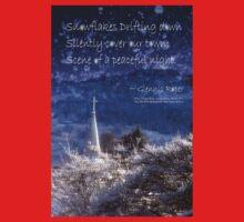 Snowflakes Drifting down haiku, snowy church steeple Kids Tee