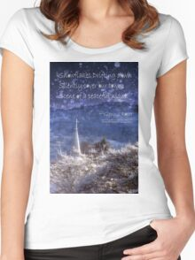 Snowflakes Drifting down haiku, snowy church steeple Women's Fitted Scoop T-Shirt