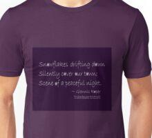 Snowflakes Drifting down haiku, on purple Unisex T-Shirt