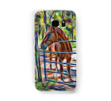 Abstract horse standing at gate Samsung Galaxy Case/Skin