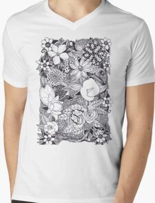 Black and White Floral Design T-Shirt