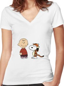 calvin and hobbes meets peanuts Women's Fitted V-Neck T-Shirt