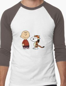 calvin and hobbes meets peanuts Men's Baseball ¾ T-Shirt