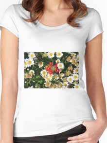 Beautiful white flowers pattern, with small red flowers in the center. Women's Fitted Scoop T-Shirt