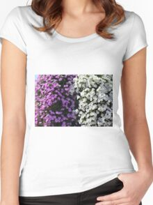 White and purple flowers, natural background. Women's Fitted Scoop T-Shirt