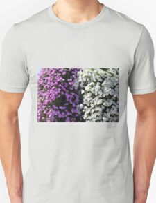 White and purple flowers, natural background. T-Shirt