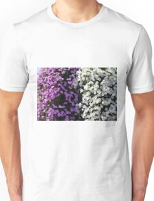 White and purple flowers, natural background. Unisex T-Shirt