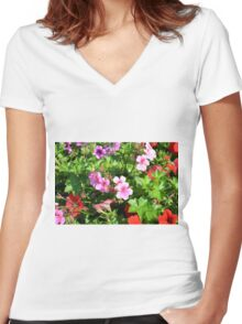 Colorful flowers, spring background. Women's Fitted V-Neck T-Shirt