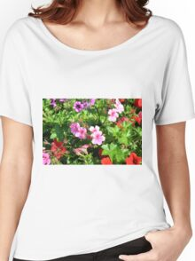 Colorful flowers, spring background. Women's Relaxed Fit T-Shirt