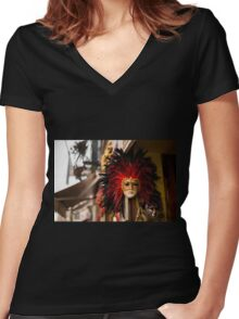 masquerade mask Women's Fitted V-Neck T-Shirt