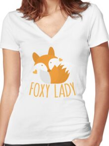 Foxy lady super cute kawaii foxy Women's Fitted V-Neck T-Shirt