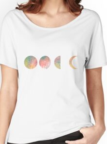 handdrawn watercolor phases of moon Women's Relaxed Fit T-Shirt