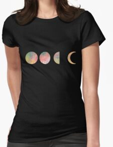 handdrawn watercolor phases of moon Womens Fitted T-Shirt