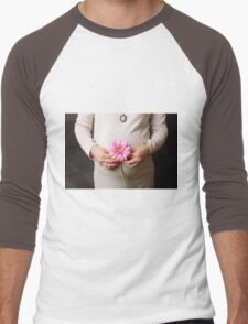pregnant woman with pink flower Men's Baseball ¾ T-Shirt