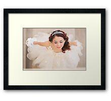 beautiful bride in white dress Framed Print