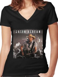 JASON ALDEAN LIVE 2016 HERE Women's Fitted V-Neck T-Shirt