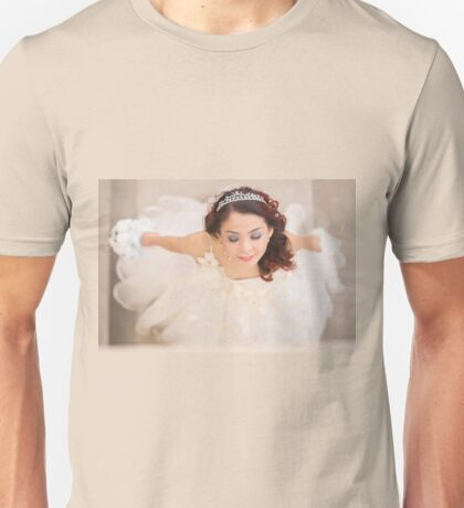 beautiful bride in white dress Unisex T-Shirt