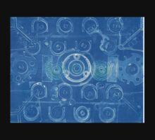 Techno 7 Monotype Print in Blue Kids Tee