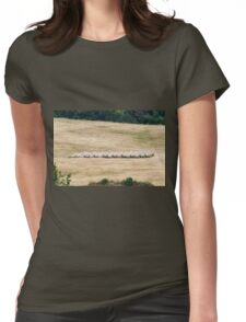 hilly landscape with hay Womens Fitted T-Shirt