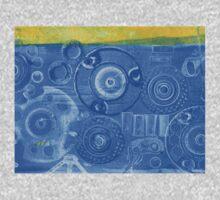 Techno 6 - Techno Landscape - Monotype Print in Blue One Piece - Short Sleeve