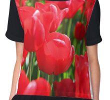 Field Of Red Tulips Chiffon Top