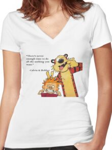Calvin And Hobbes Women's Fitted V-Neck T-Shirt