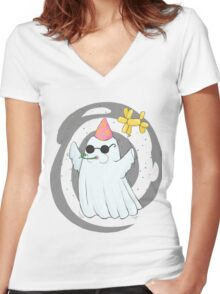 Party Ghost Women's Fitted V-Neck T-Shirt