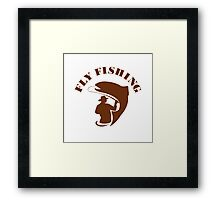 Trout Fly Fishing Isolated Retro Framed Print