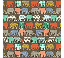 baby elephants and flamingos savannah Photographic Print