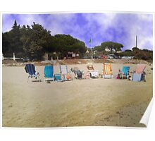 Beach with empty  chairs near St. Tropez Poster