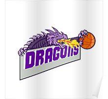 Dragon Head Fire Clutching Basketball Retro Poster