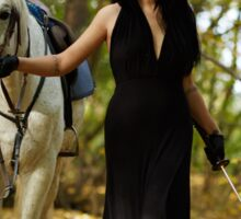 Woman with horse in the forest Sticker