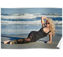 Beautiful woman on the beach Poster