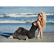 Beautiful woman on the beach Photographic Print